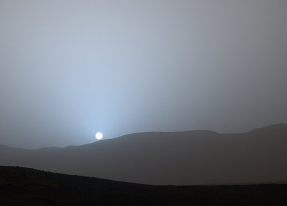 Blue Sunset in Mars' Gale Crater