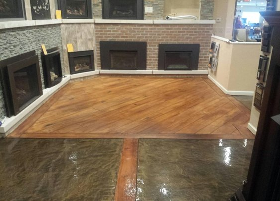 Metallic Epoxy and Wood Concrete Showroom Floor - Rochester Hills MI