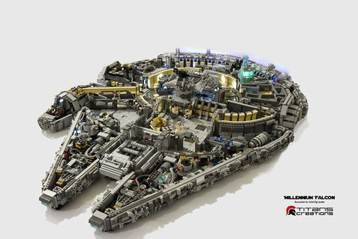 A Scaled Version of the 'Star Wars' Millennium Falcon Built Out of LEGO Bricks and Minifigs