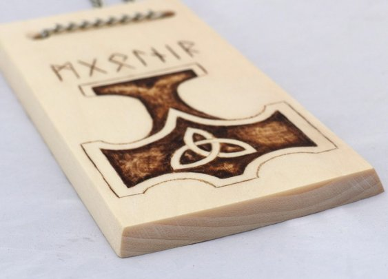 Thor's Hammer Mjolnir hanging wood burn display by Hope & Grace Pens