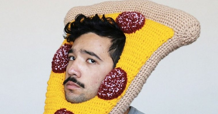 A frowning Aussie man has found happiness making crochet food hats