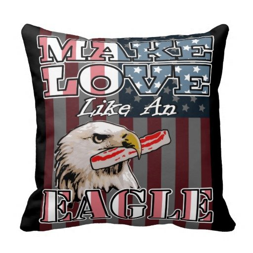 Bacon Freedom - Make Love Like an Eagle - Man Cave July 4 Throw Pillow