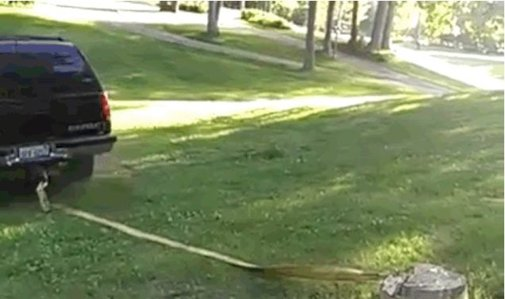 How Not To Pull A Stump Out Of The Yard With Mom's SUV