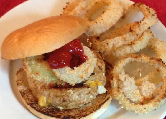 Cheddar Stuffed Turkey Burgers with Baked Onions Rings and Chipotle Ketchup