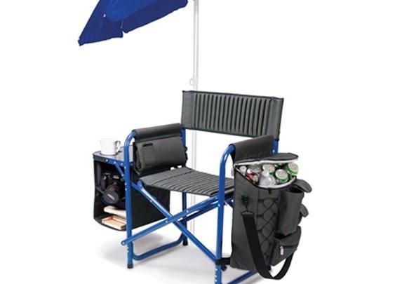 SheilaShrubs.com: Fusion Chair - Dark Grey w/ Blue 807-00-639-000-0 by Picnic Time : Patio Furniture