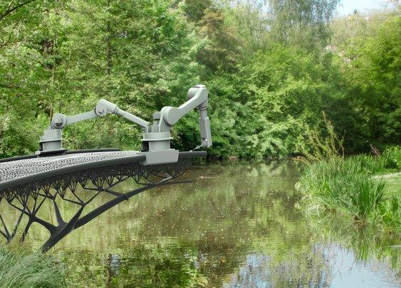 3D printer to print bridge over water in Amsterdam