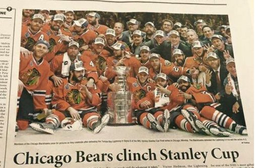 Korean newspaper has the Chicago Bears winning the Stanley Cup
