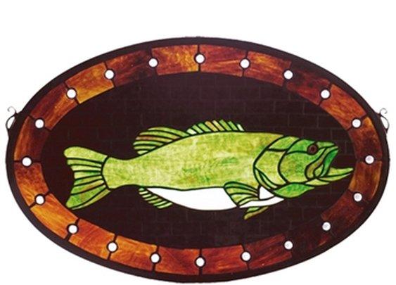 """SheilaShrubs.com: 22"""" W x 14"""" H Bass Plaque Stained Glass Window 23970 by Meyda Lighting: Stained Glass Windows"""