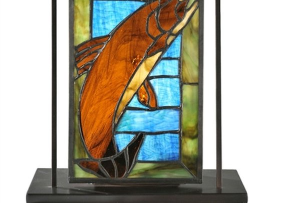 """SheilaShrubs.com: 9.5"""" W x 10.5"""" H Trout Lighted Mini Tabletop Window 71610 by Meyda Lighting: Stained Glass Windows"""