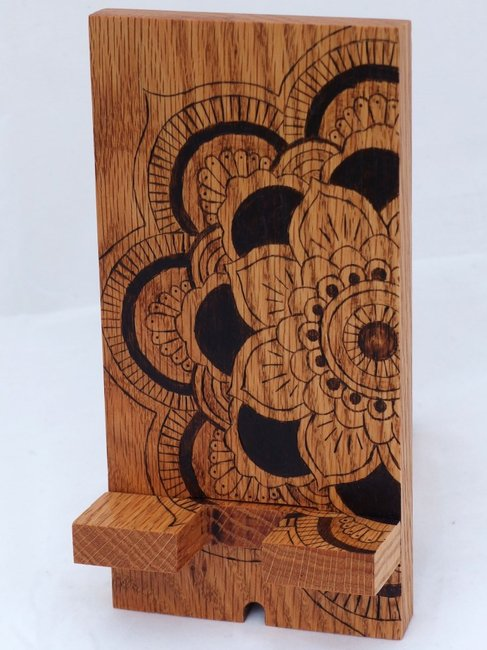 Mandala docking station wood phone stand by Hope & Grace Pens