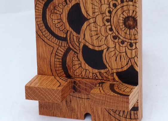 Mandala docking station wood phone stand by Hope & Grace Pens