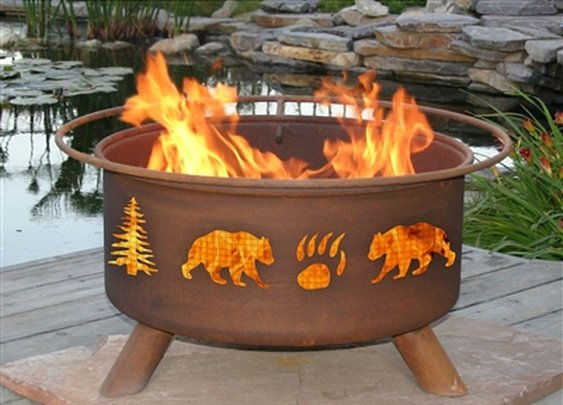 SheilaShrubs.com: Bear & Trees Fire Pit F107 by Patina Products: Fire Pits