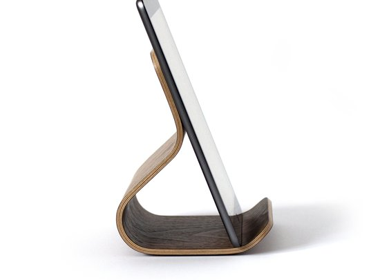 Minimalistic tablet stand made of plywood