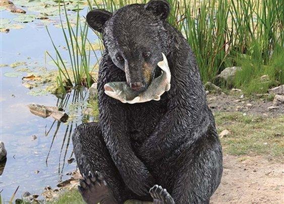 "SheilaShrubs.com: ""The Expert Fisherman"" Black Bear Statue KY71194 by Design Toscano: Garden Sculptures & Statues"