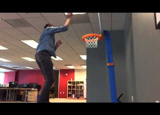 Guy Spends Last Days In Office After Layoff Dunking On a Kids Basketball Goal