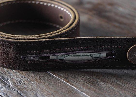 Leather Belt With Hidden Pocket