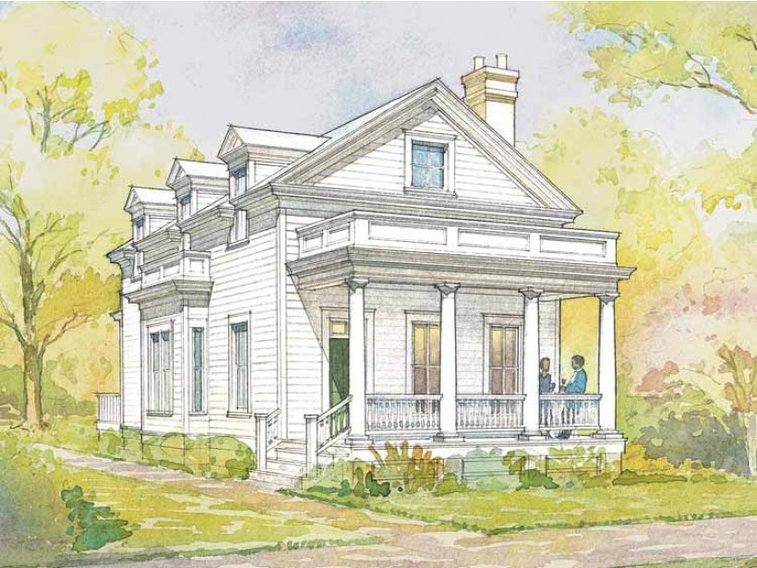 Greek Revival House Plan with 1720 Square Feet and 3 Bedrooms from Dream Home Source | House Plan Code DHSW55524