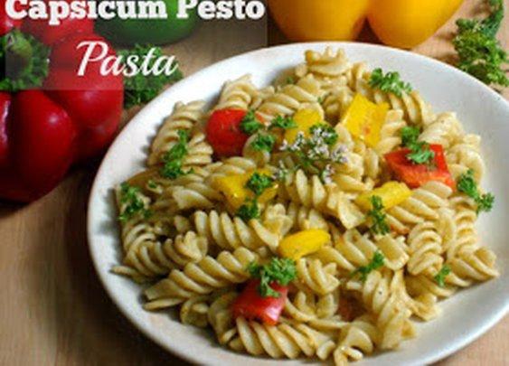 cook the natural way: Capsicum Pesto Pasta (Vegan)