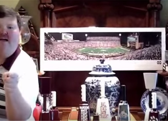 Here's a Mississippi State fan hollerin' about cowbells