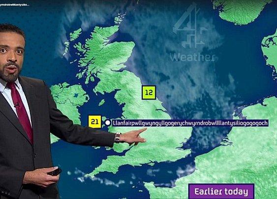 Weatherman nails pronunciation of Llanfairpwllgwyngyllgogerychwyrndrobwll-llantysiliogogogoch