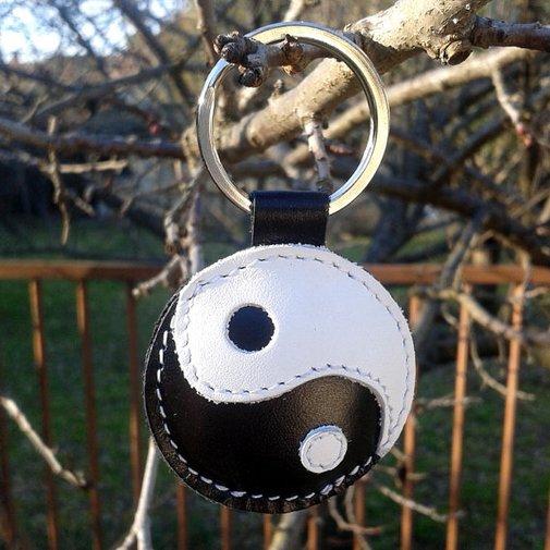 Yin-Yang Leather Keychain Yin Yang symbol by snis