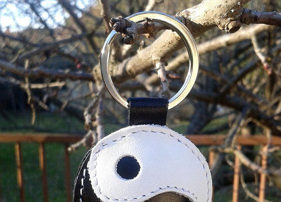 Yin-Yang Leather Keychain Yin Yang symbol by snis