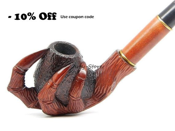 Tobacco Smoking pipe Dragon's Claw Carved of Pear by ArtyStore