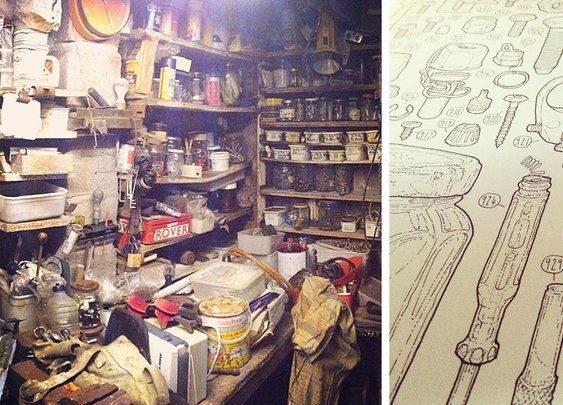 Artist Celebrates Late Grandfather By Drawing Each Of The 100,000+ Items He Left In His Toolshed | Bored Panda