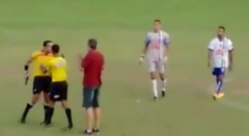 Referee Brandishes Gun During Soccer Match