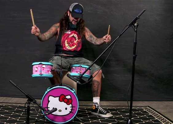 Watch Mike Portnoy Play Classic Rock and Metal Songs Behind a Hello Kitty Drum Kit