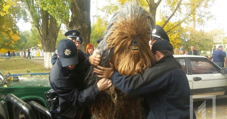 Chewbacca arrested in Ukraine campaigning for Darth Vader