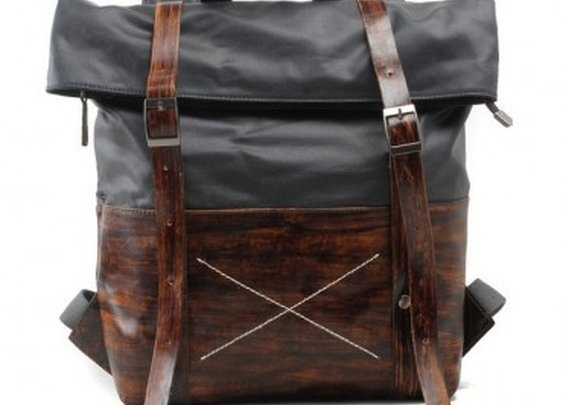Grey Canvas & Leather Backpack
