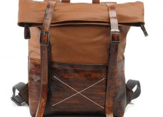 Brown Canvas & Leather Backpack