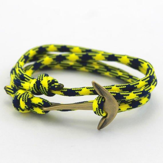 Mens Anchor Bracelet  Paracord Bracelet  Rope by DesignedTurning