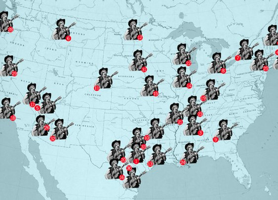 This Map Shows Every City Mentioned In Songs by Willie Nelson
