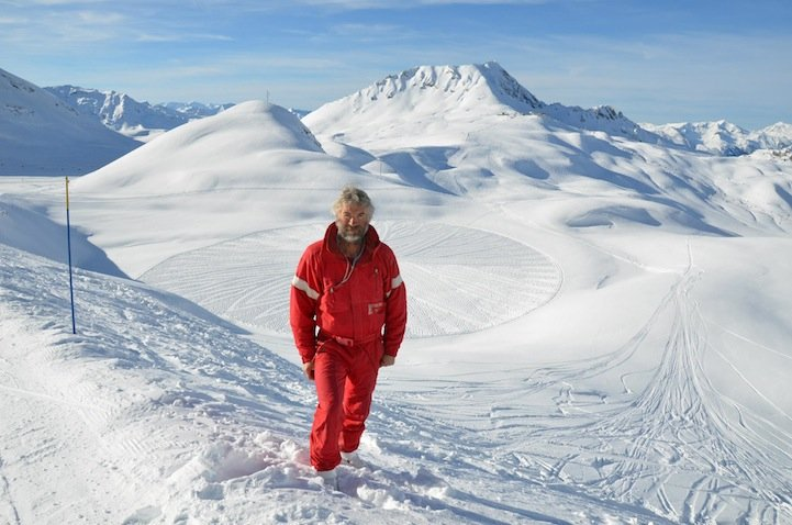Man Walks All Day to Create Massive Snow Patterns