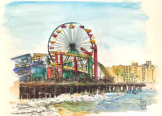 Santa Monica Pier Painting by J. Travis Duncan  by panoplei