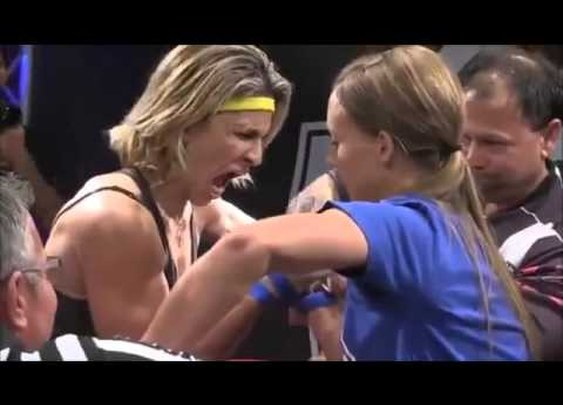 Female Arm Wrestler Goes Crazy After Her Win