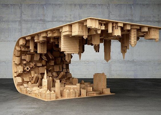 """""""Inception"""" Coffee Table Defies Gravity and Suspends Cityscape in Mid-air"""