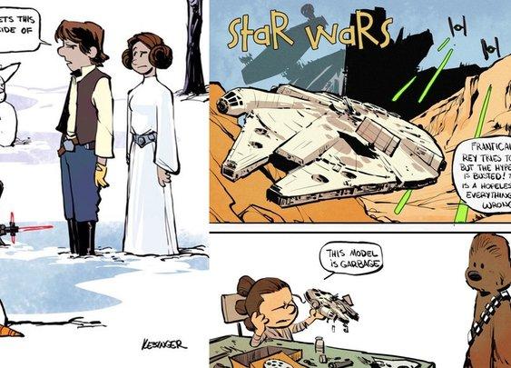 MORE Calvin & Hobbes and The Force Awakens Mashup Comic Art