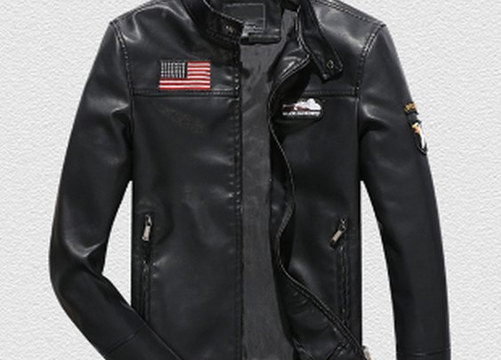 Mens PU Leather Jacket with US Flag
