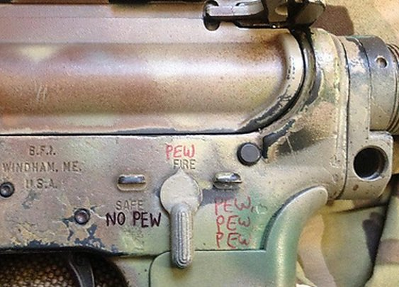 "Always remember to keep your gun on ""no pew"" when not in use. - Imgur"