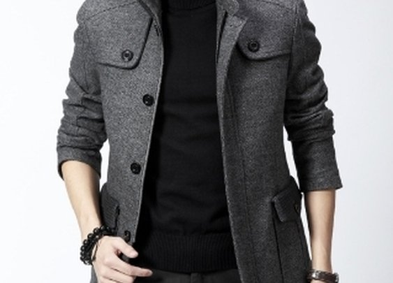 Men's Gray Stand Up Collar Woolen Coat