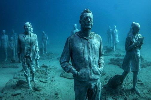Hyperrealistic Human Sculptures Submerged 14 meters deep in the Atlantic Ocean