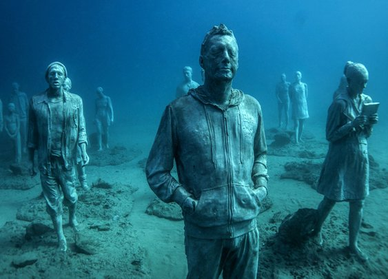 Hyperrealistic Human Sculptures Submerged 14 meters deep in the Atlantic Ocean