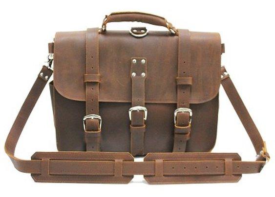 "Vintage Leather Briefcase 16,5"""