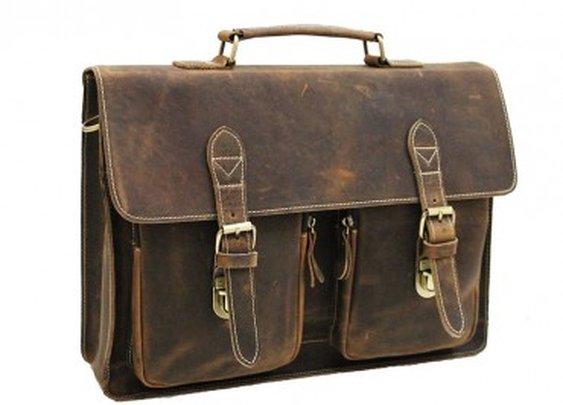 "Vintage Leather Briefcase 15,5"""