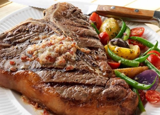 T-Bone Steaks with Bacon-Parmesan Butter Recipe from Weber Grills and Accessories