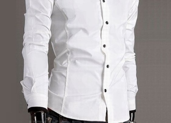 Men's Mandarin Collar Button-Up Shirt