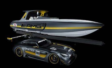 Cigarette Racing 41' SD GT3 boat inspired by the Mercedes-AMG GT3 racecar